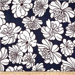 Cotton Lawn Shirting Bold Bloom Navy/White