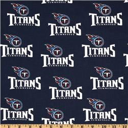 NFL Cotton Broadcloth Tennessee Titans Navy/White Fabric