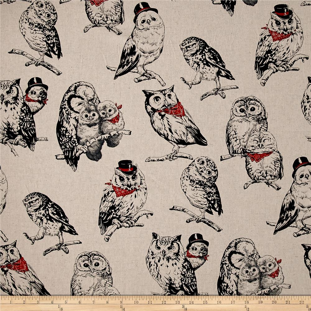 Cosmo Country House Owls Printed Canvas Tan Fabric By The Yard