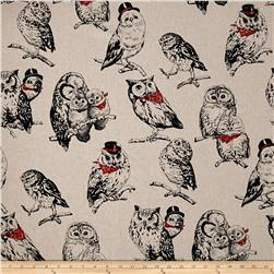 Cosmo Country House Owls Printed Canvas Tan