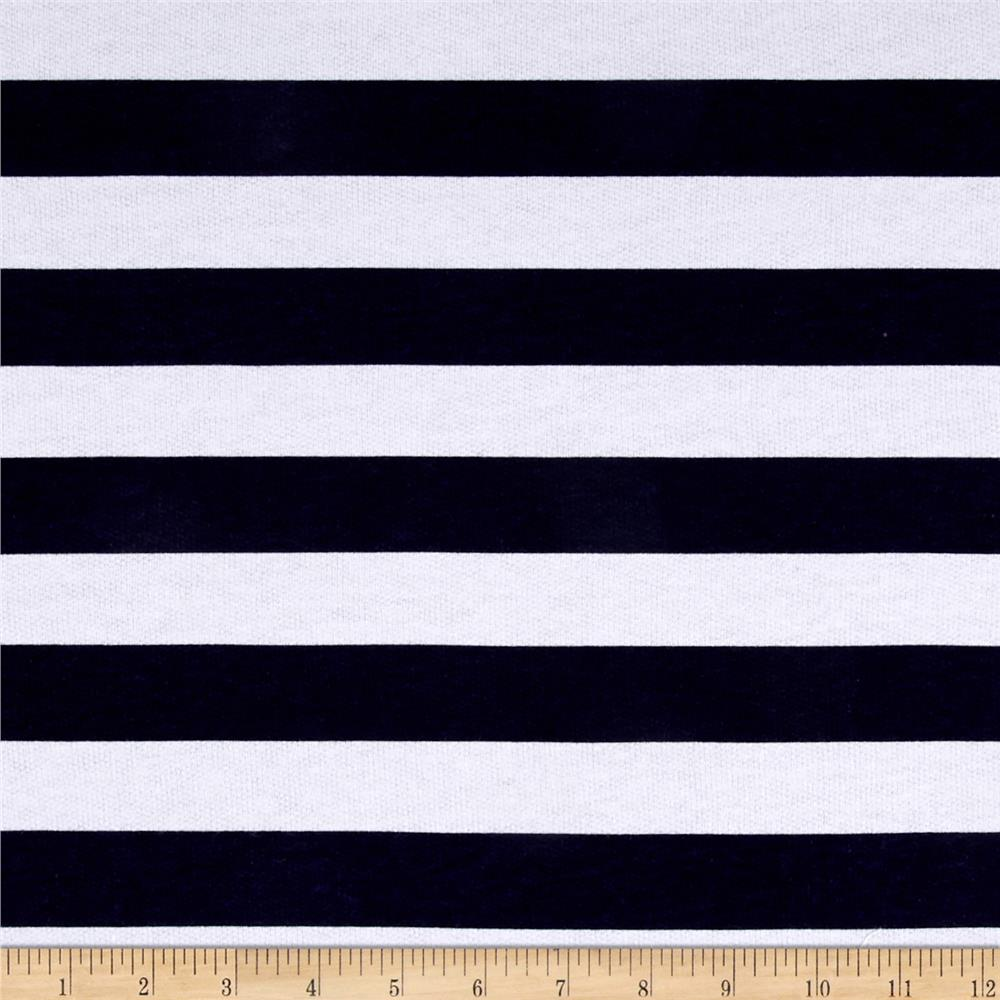 Cotton French Terry Stripe Navy/White