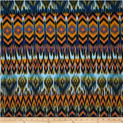 Cotton Lycra Jersey Knit Abstract Black/Orange/Lilac
