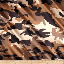 Charmuese Satin Camouflage Tan Fabric