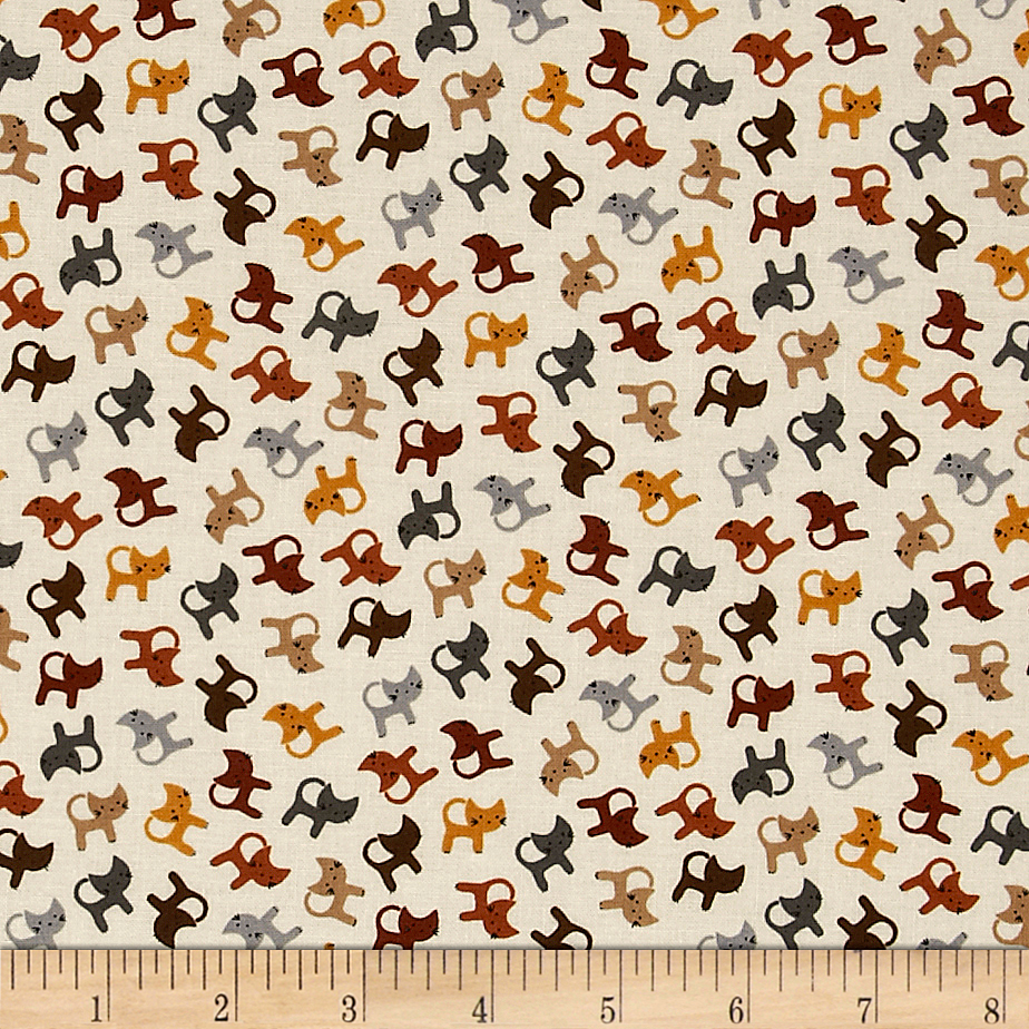Cats Cream Fabric