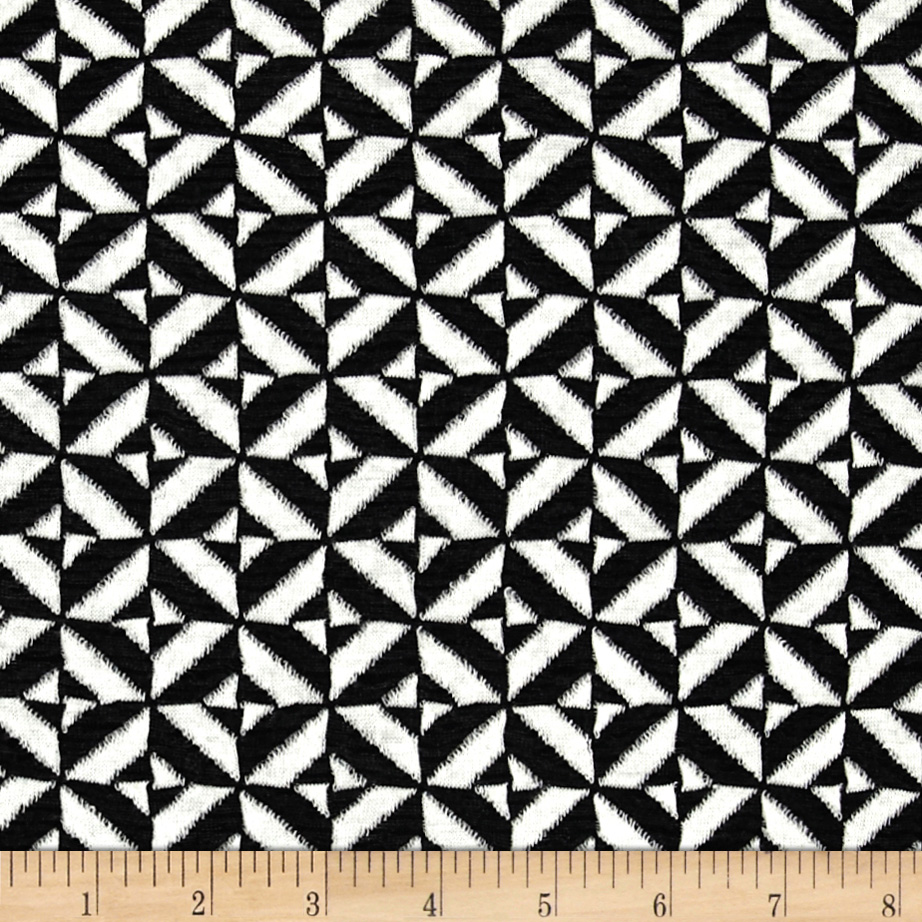 Ace Jacquard Knit Tile Black/White Fabric