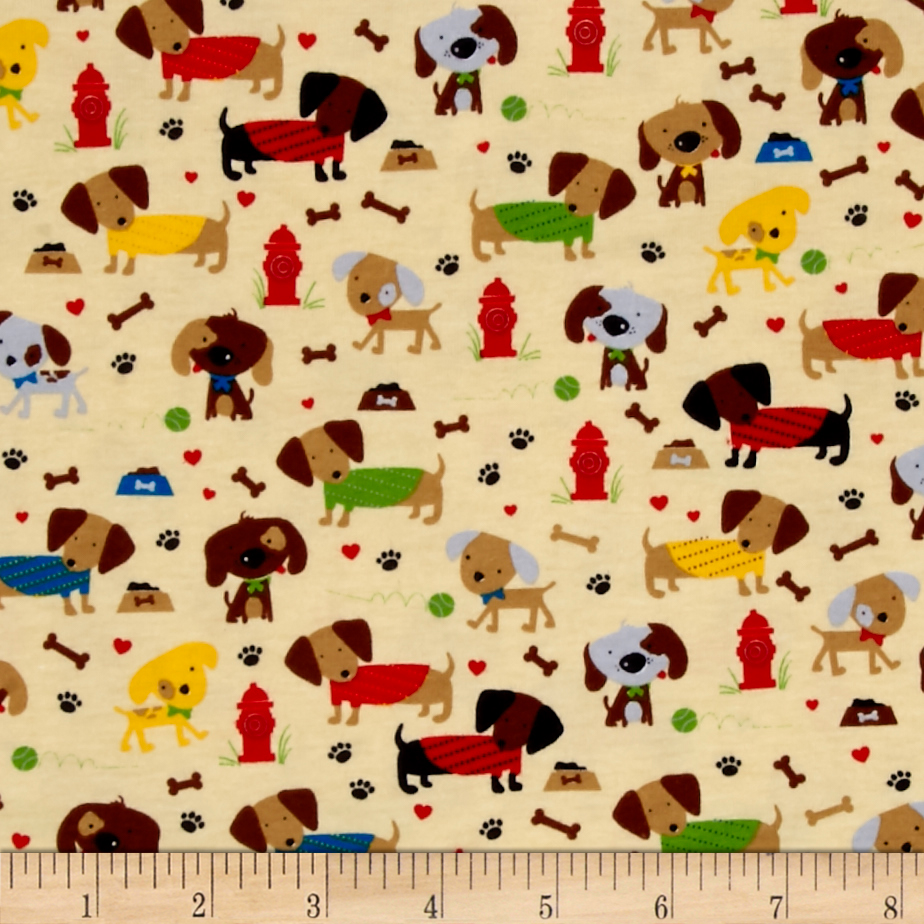 Riley Blake Jersey Knit Tan Rover Dog Park Tan Fabric