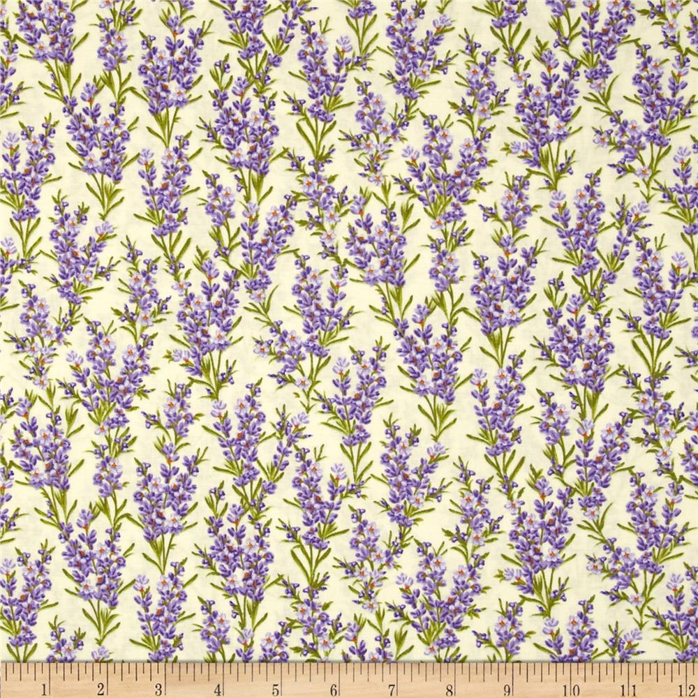 Timeless Treasures Florals Lavender Cream
