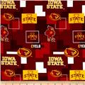Collegiate Cotton Broadcloth Iowa State University Block Print Red