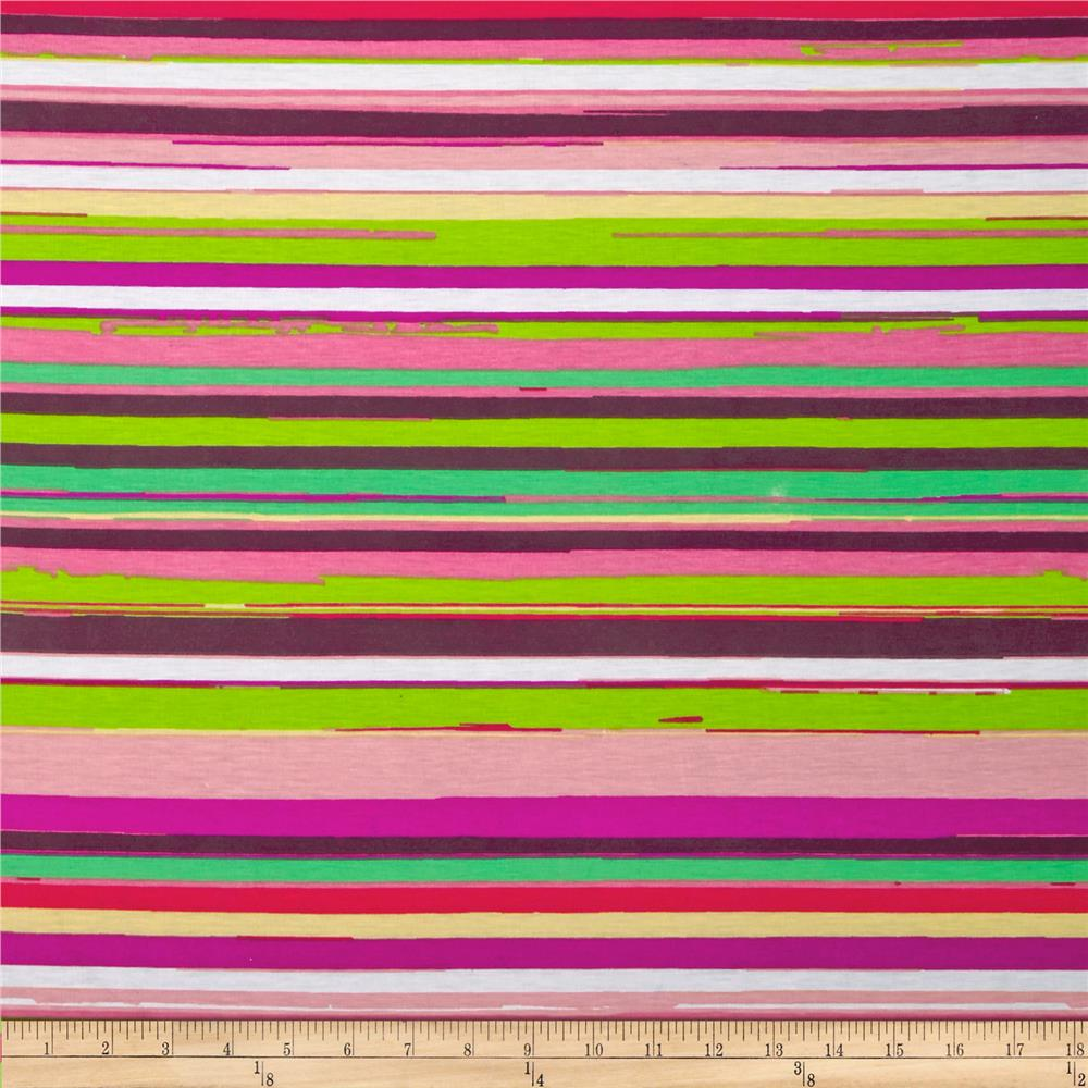 Stretch Jersey Knit Spendid Stripe Pink/Magenta