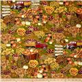 Timeless Treasures Autumn Bounty Metallic Apple Picking Scenic Harvest