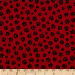 Paw Prints Red