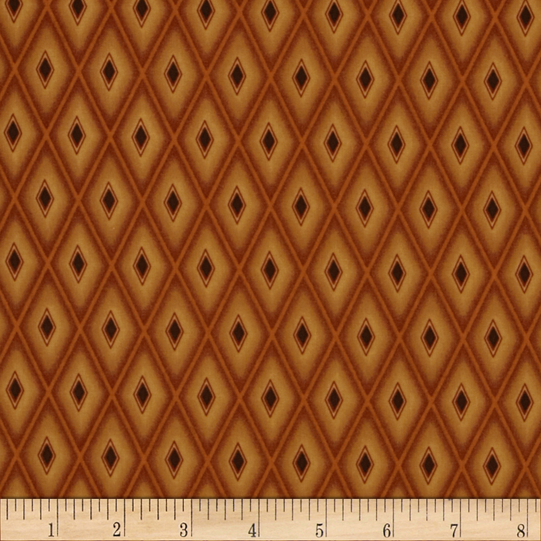 Autumn Moon Diamonds Burnt Orange Fabric