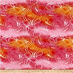 Butterfly Paisley Fleece Pink Orange