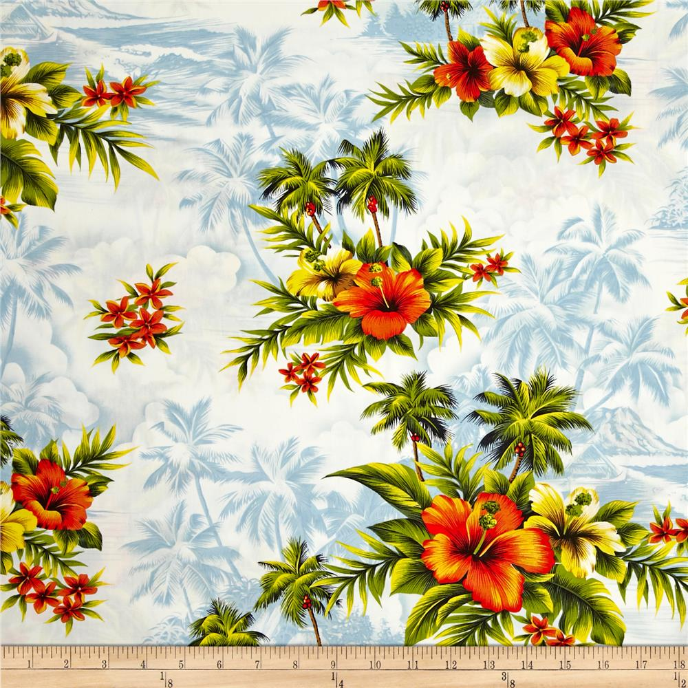 Hoffman Tropical Collection Hibiscus & Palm Tree Blue