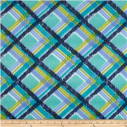 Novelty Fleece Plaid Navy/Lime/Blue/White Fabric