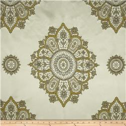 Laurier Satin Medallion Dimensional Jacquard Black/Chartreuse Fabric