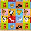Comfy Flannel Dog Blocks Multi
