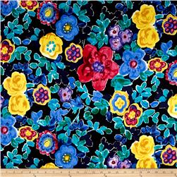 Telio Bloom Cotton Stretch Sateen Abstract Floral Multi