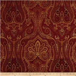 Waverly Clubroom Paisley Chenille Jacquard Crimson