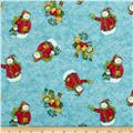 Winter Wonderland Metallic Tossed Snowman Turquoise