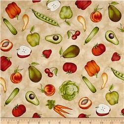 Maywood Studio From The Farm Tossed Fruits & Veggies Tan
