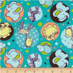 Flannel Zoo Animal Dots Turquoise
