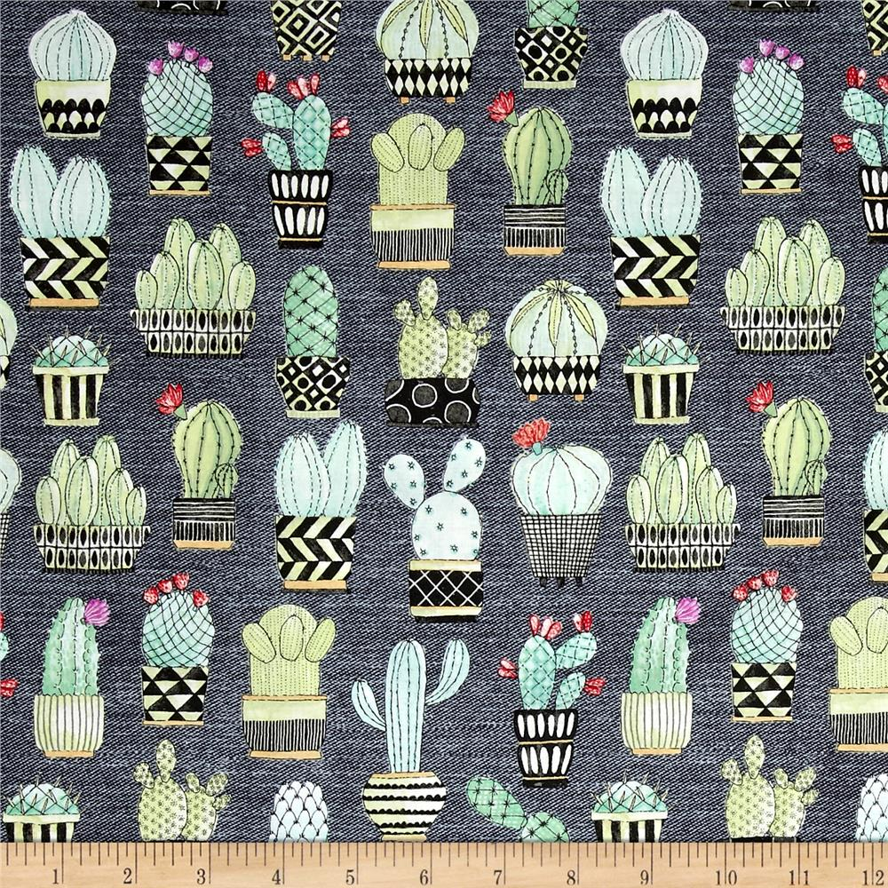 michael miller lovely llamas cactus hoedown gray discount