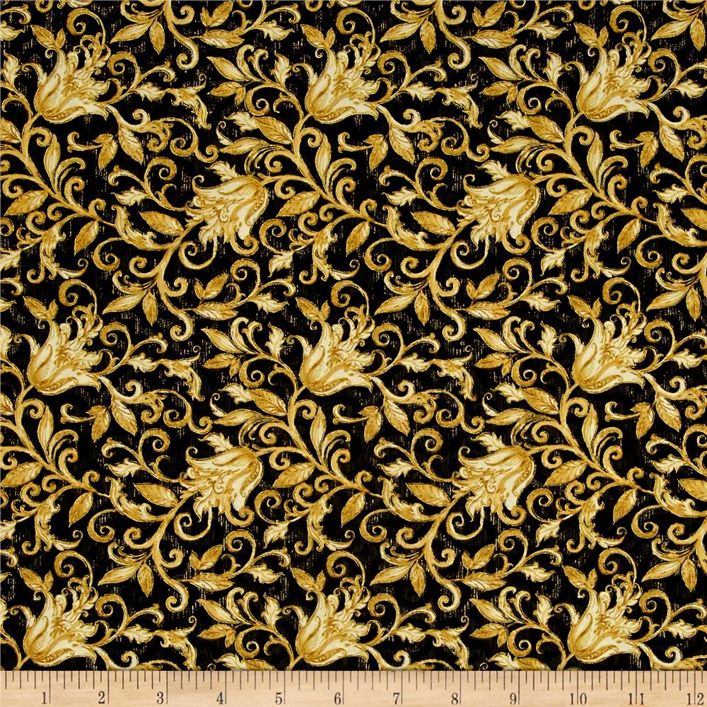 Timeless Treasures Black Floral | Fabric.com