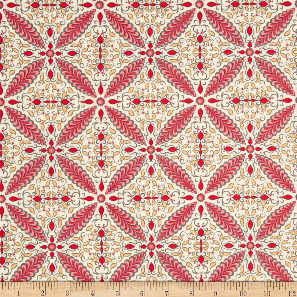 Feathers & Flourishes Flourish Tile Cream/Pink