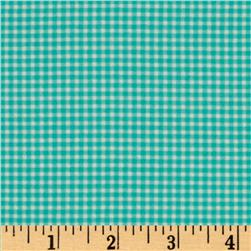 Michael Miller Flannel Tiny Gingham Aqua Fabric