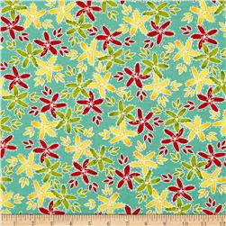 Moda Hometown Girl Stitched Garden Aqua Sky