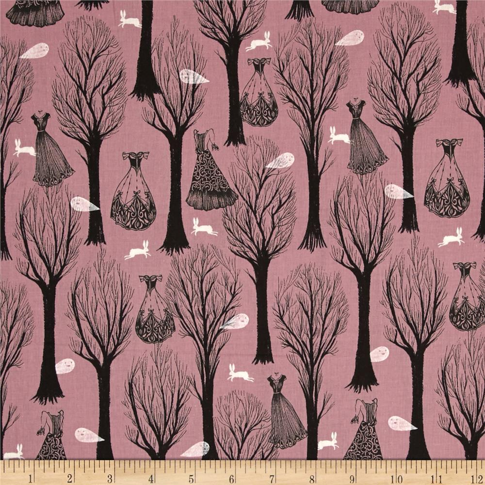 Cotton + Steel Spellbound Metallic Trees Purple