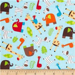 Monkey Mates Animal Toss Blue Fabric