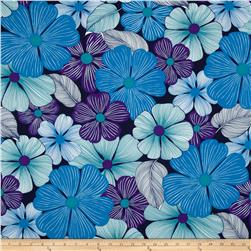 Surf N' Sand Tropicals Bright Floral Turquoise Fabric