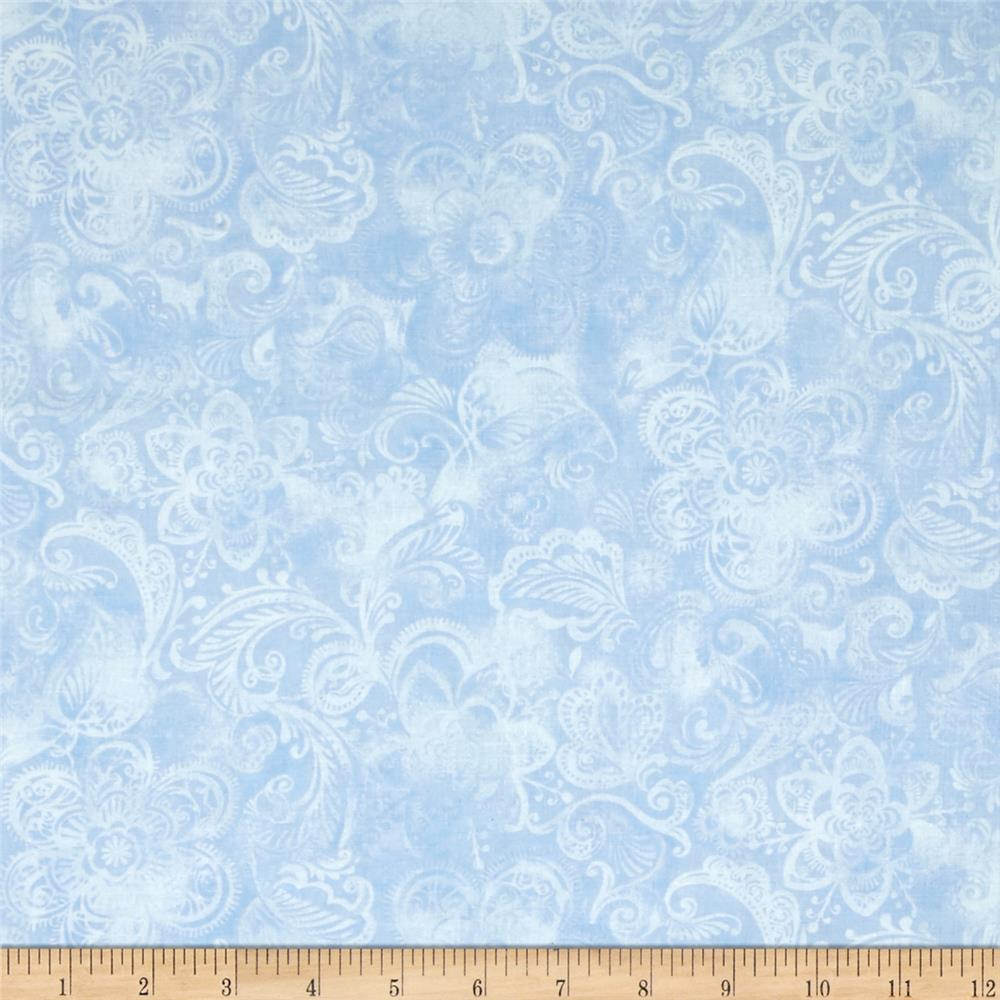 44'' Wide Quilt Fleur Blue Fabric By The Yard