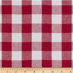 Woven 1'' Carolina Gingham Red