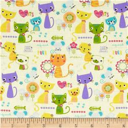 Paws & Play Cat & Mouse Ivory Fabric