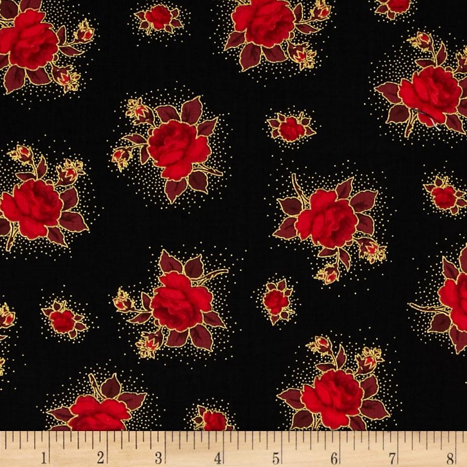 Season's Greetings Small Flowers Black Fabric