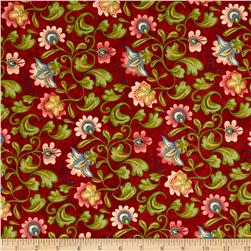 Moda Cowgirl Country Tooled Floral Rodeo Red