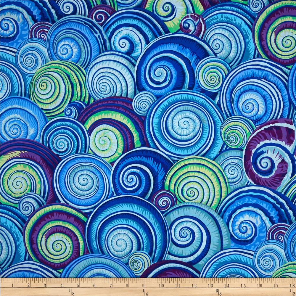 Discount outdoor fabric by the yard - Kaffe Fassett Spiral Shells Blue