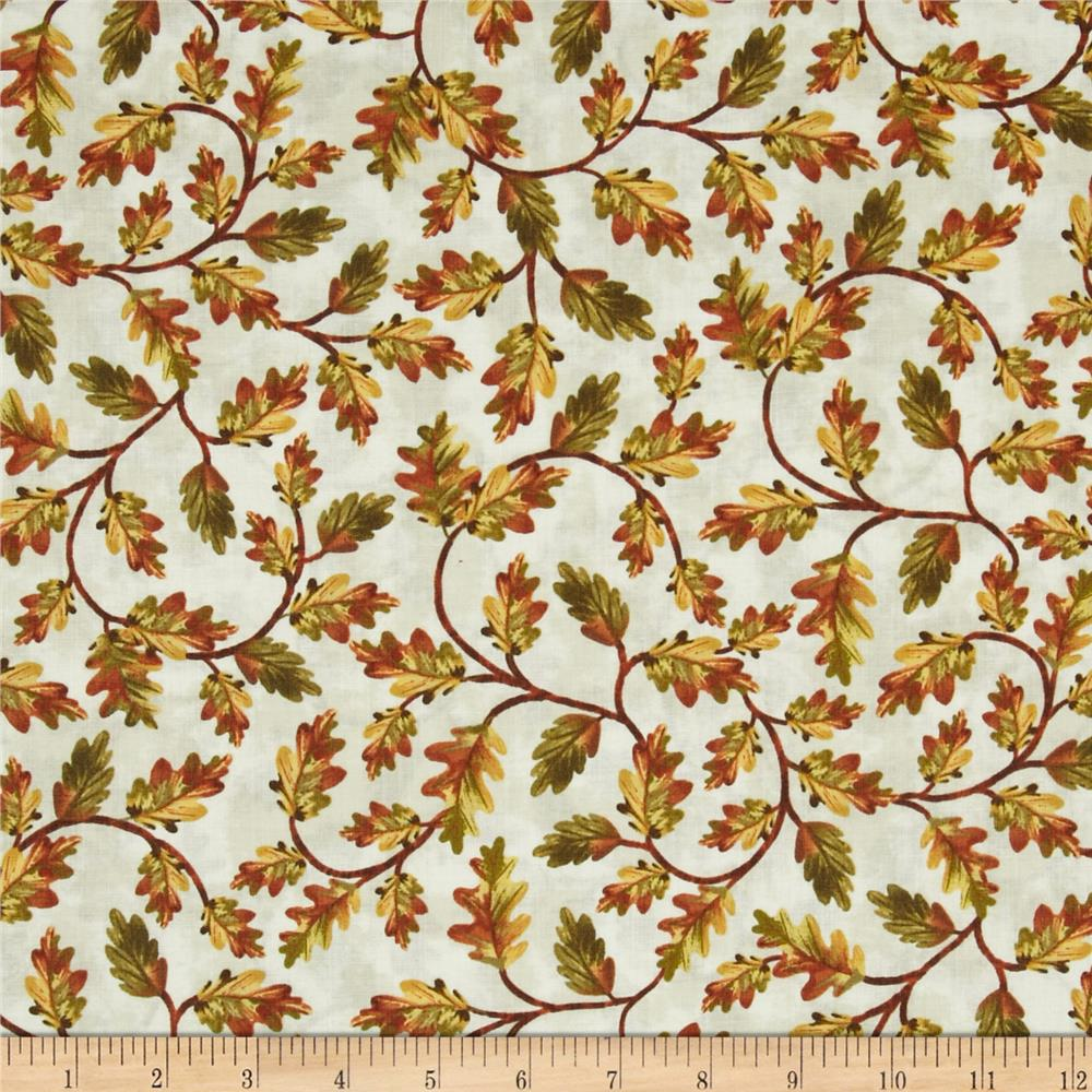 Timeless Treasures Fall Festival Leaves Cream