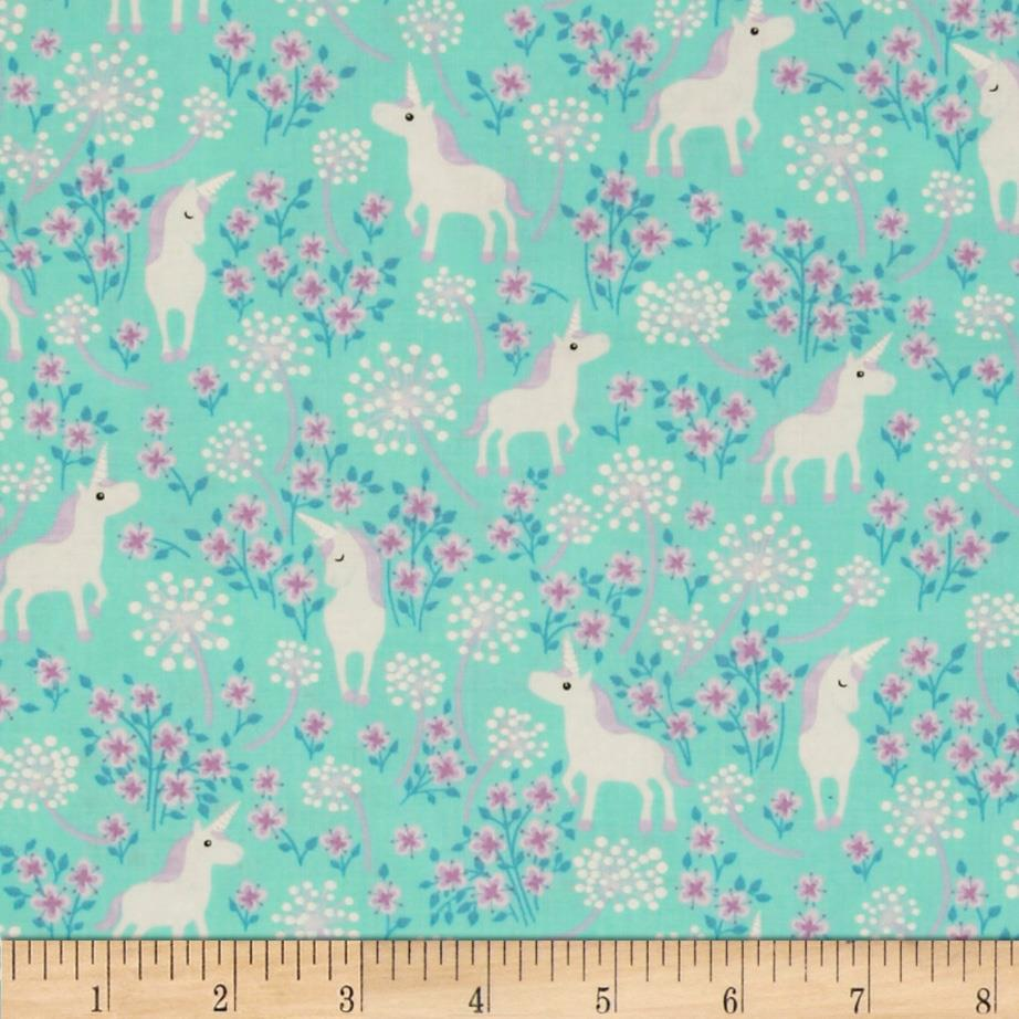 Timeless Treasures Unicorns Aqua