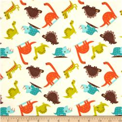 Riley Blake Dinosaur Flannel Toss Cream