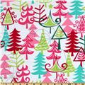 Michael Miller Holiday Yule Trees Aqua Xmas Trees Multi