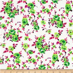 Designer Rayon Shirting Floral Hot Pink/Green
