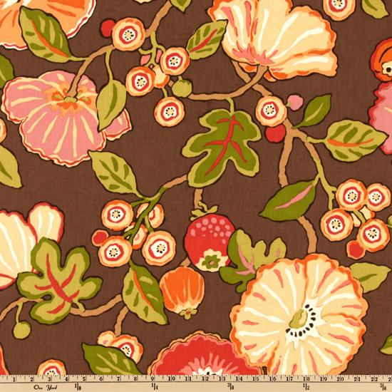 P Kaufmann Indoor/Outdoor Hip Floral Chocolate