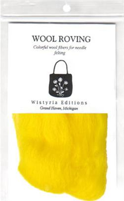 "100% Wool Roving 12"" Package .2 Ounces Yellow"