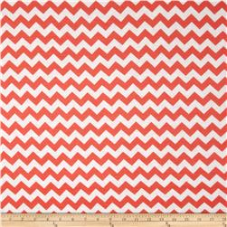 Rayon Jersey Knit Chevron Coral Orange/Cream
