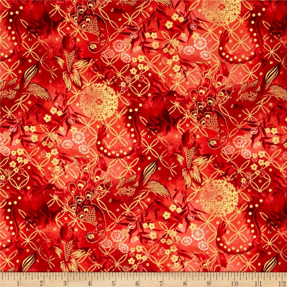 Asian Fanfare Abstract Swirls Burgundy