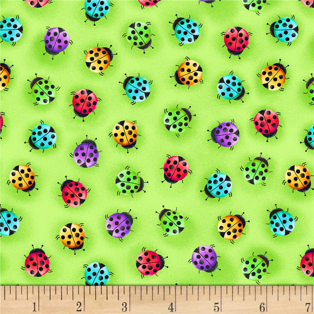 Blank Quilting Bugs Galore Ladybugs Green Discount